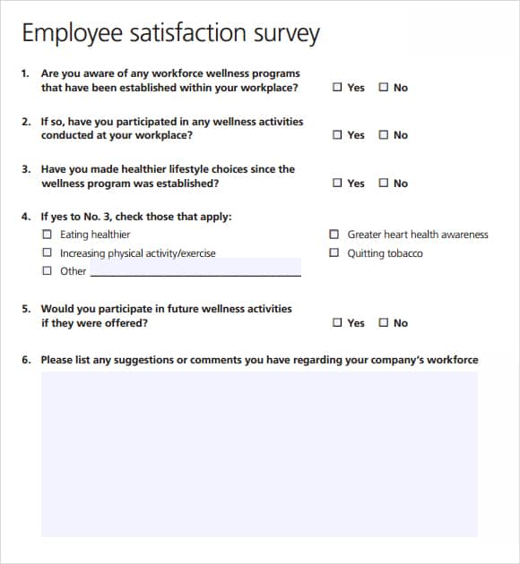 6 sample survey templates