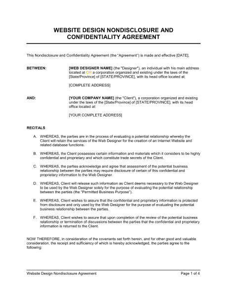 6 NonDisclosure Agreement Templates Excel PDF Formats – Standard Confidentiality Agreement