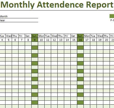 Attendance Sheet Monthly Excel – School Attendance Sheets