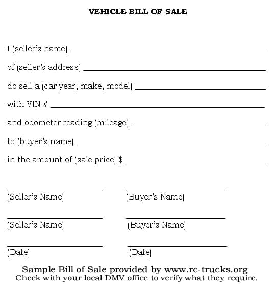 Printable Bill Of Sale Free