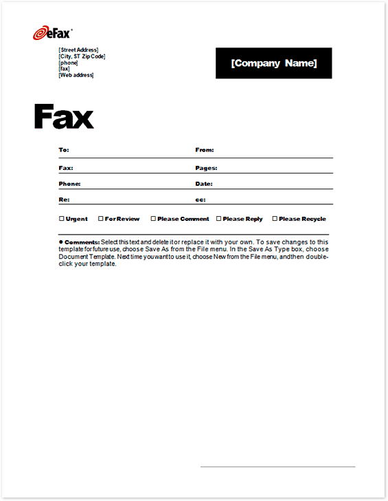 Downloadable Fax Cover Letter