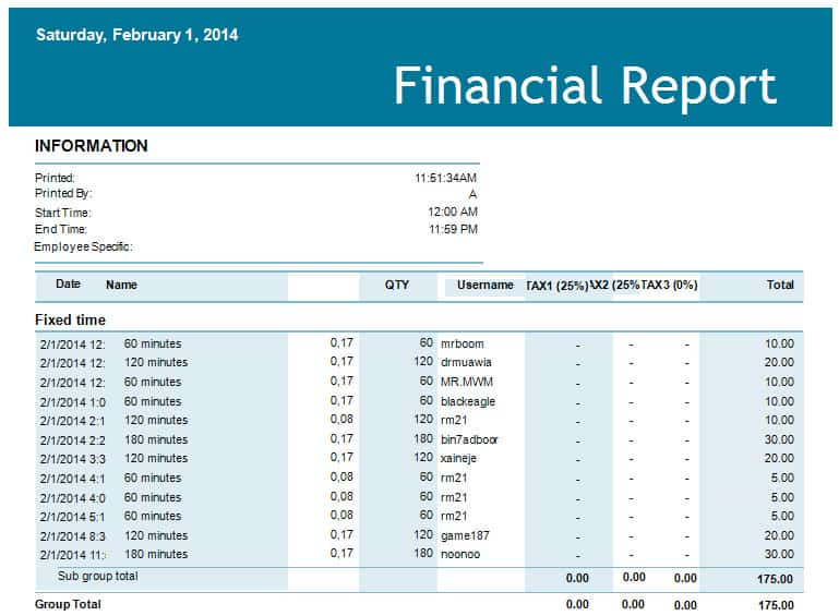 interim financial statements template