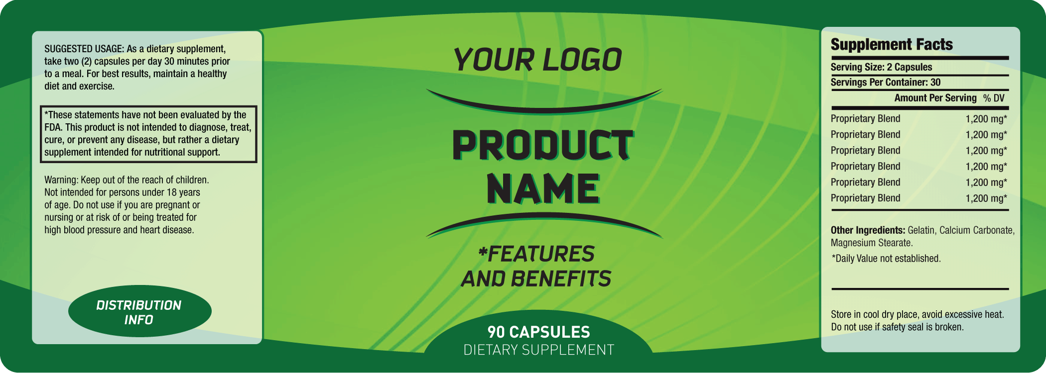 6 free label templates excel pdf formats for Supplement facts template