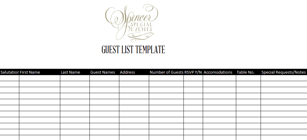 Elegant Word MS Templates Throughout Guest List Sample