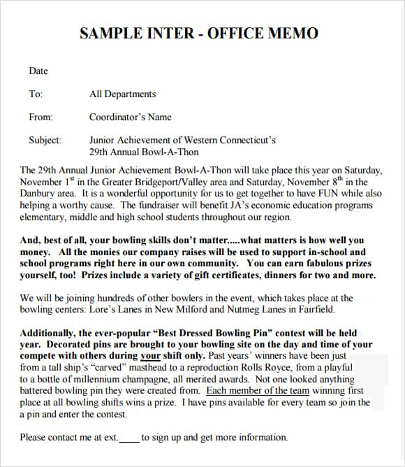 Inter Office Memo Template Download  Interoffice Memorandum Format