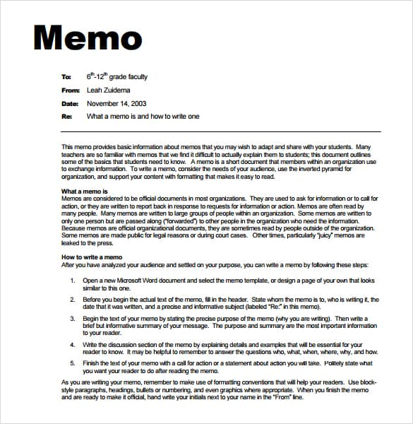 Internal Memo Templates  Memo Templates Internal Memo Template