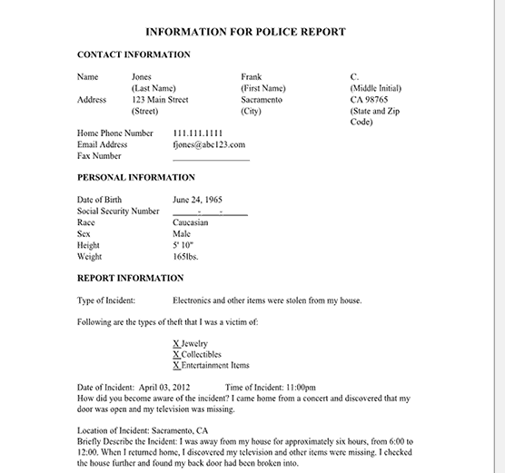 police report free