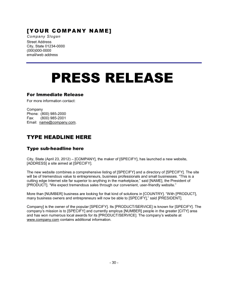 6 press release templates excel pdf formats for Album press release template