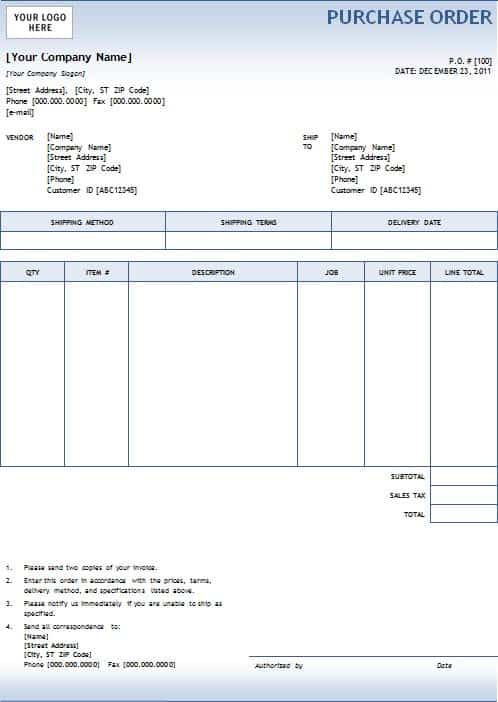 5 purchase order templates