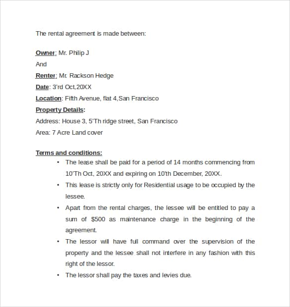 7 Rental Agreement Templates - Excel Pdf Formats