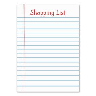 word shopping list