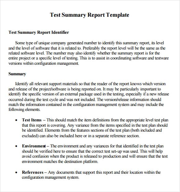 Template For Summary Report  NinjaTurtletechrepairsCo