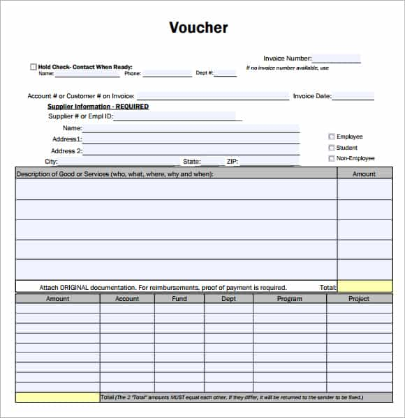 7 Voucher Templates Excel PDF Formats – Payment Coupons Template