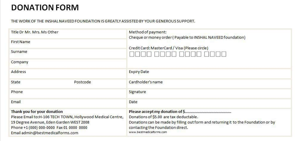charity pledge form template - 6 donation form templates excel pdf formats