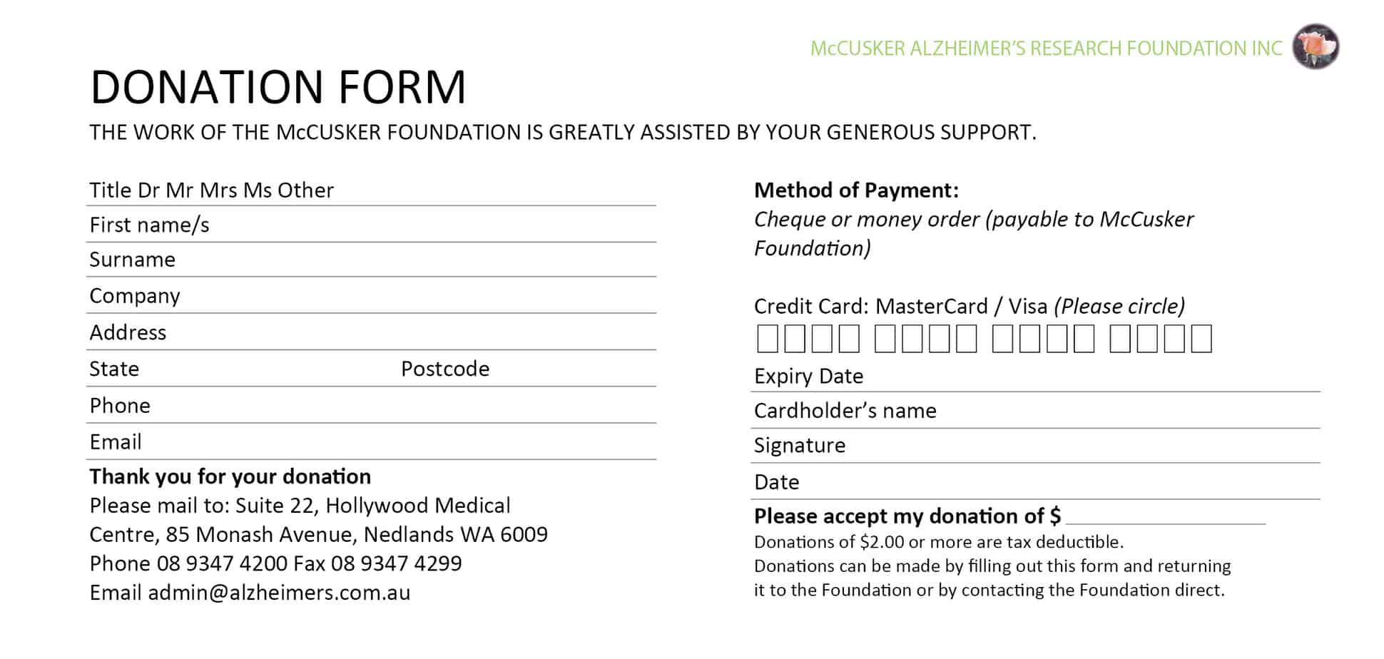 6 Donation Form Templates Excel PDF Formats – Fundraising Forms Templates Free