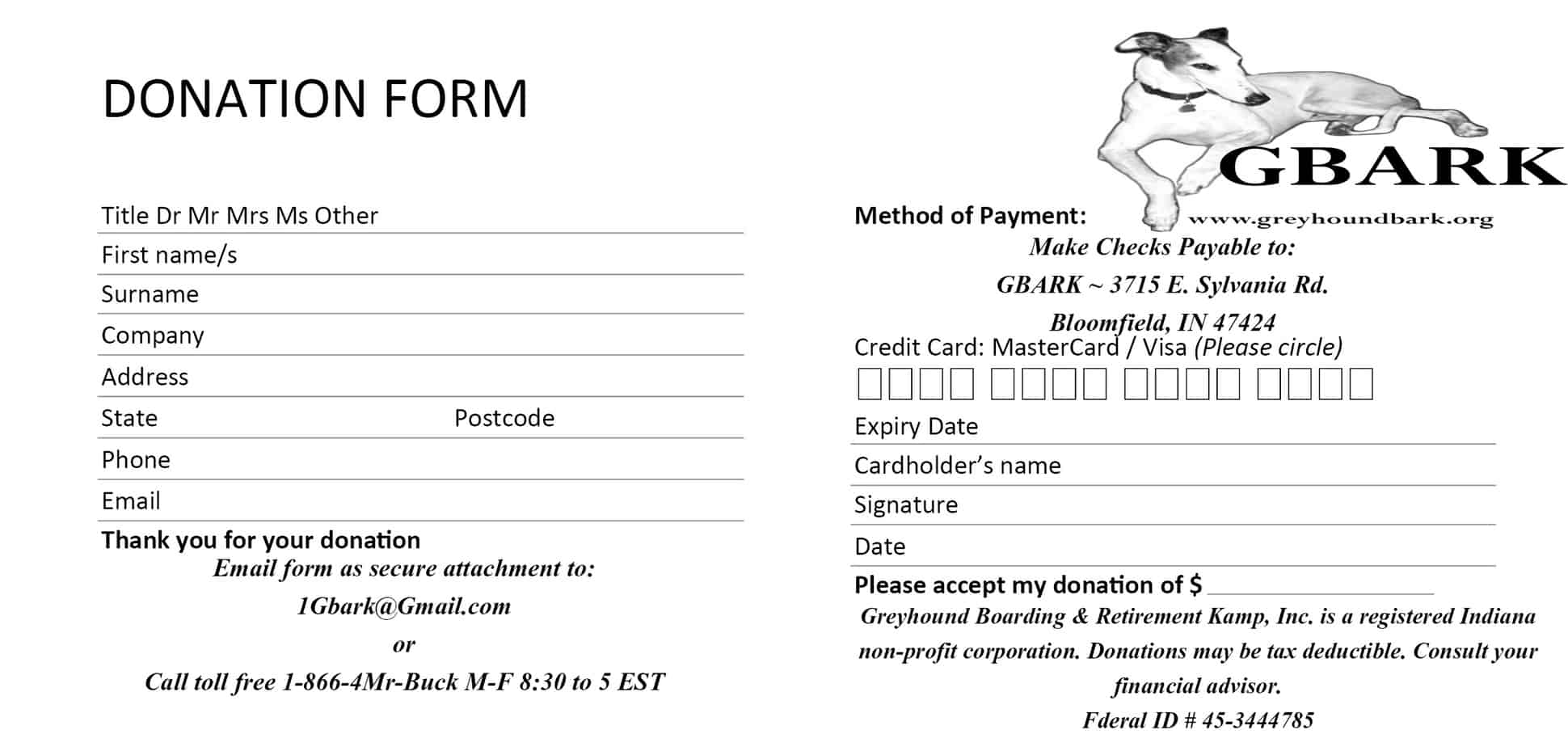 6 Donation Form Templates Excel PDF Formats – Generic Donation Form