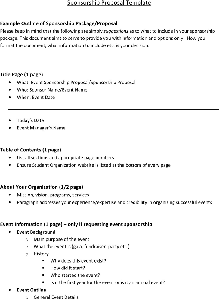 6 Sponsorship Proposal Templates Excel Pdf Formats