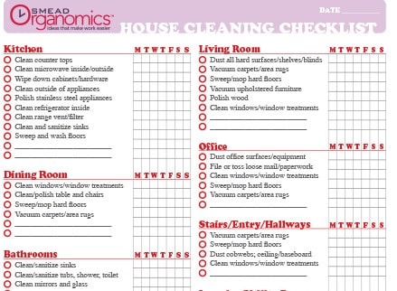 House Cleaning List Templates  Excel  Formats