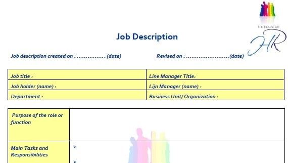 Job Description Templates  Excel Pdf Formats