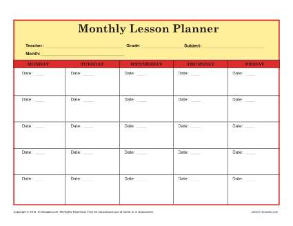 6 lesson plan templates excel pdf formats for Week long lesson plan template