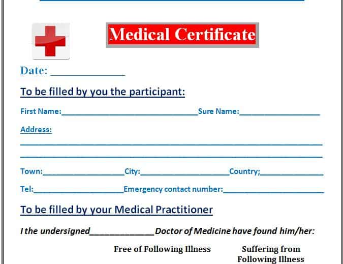 Medical Certificate Templates  Excel Pdf Formats