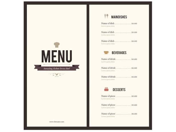 8 menu templates excel pdf formats for Easy menu templates free