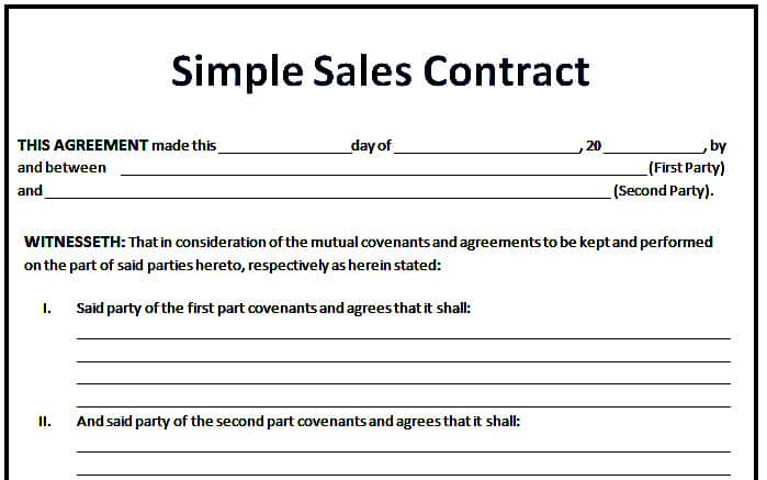 6 Sales Agreement Templates Excel PDF Formats – Simple Sales Contract Form