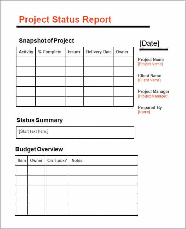 Project Status Report Template  KakTakTk