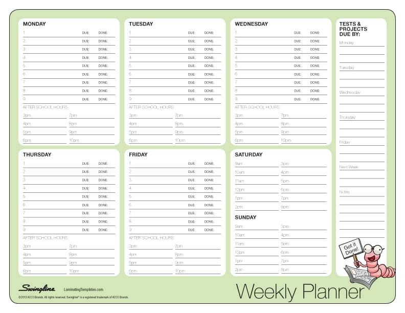 teacher weekly planner template .