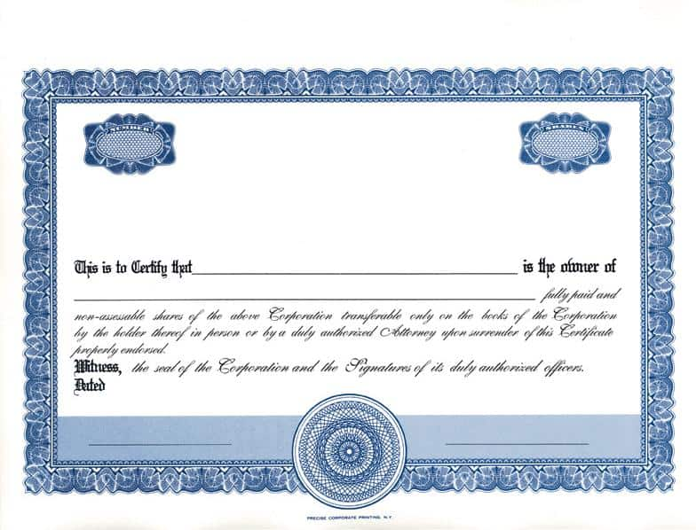 Stock certificate template blue color stock certificate template sharestock certificate templates excel pdf formats yelopaper Image collections