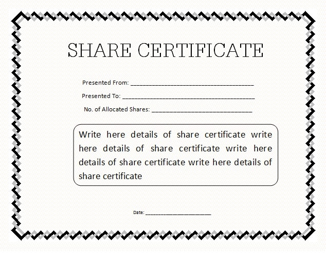 13 share stock certificate templates excel pdf formats for Share certificate template alberta