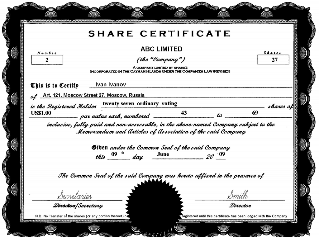 13 share stock certificate templates excel pdf formats for Share certificate template