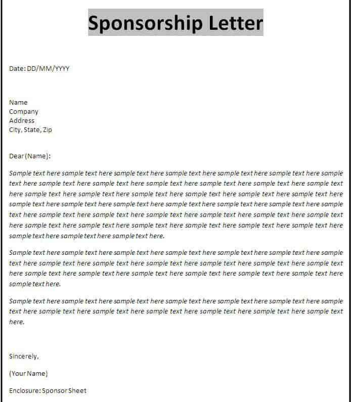 sample of sponsorship proposal letter