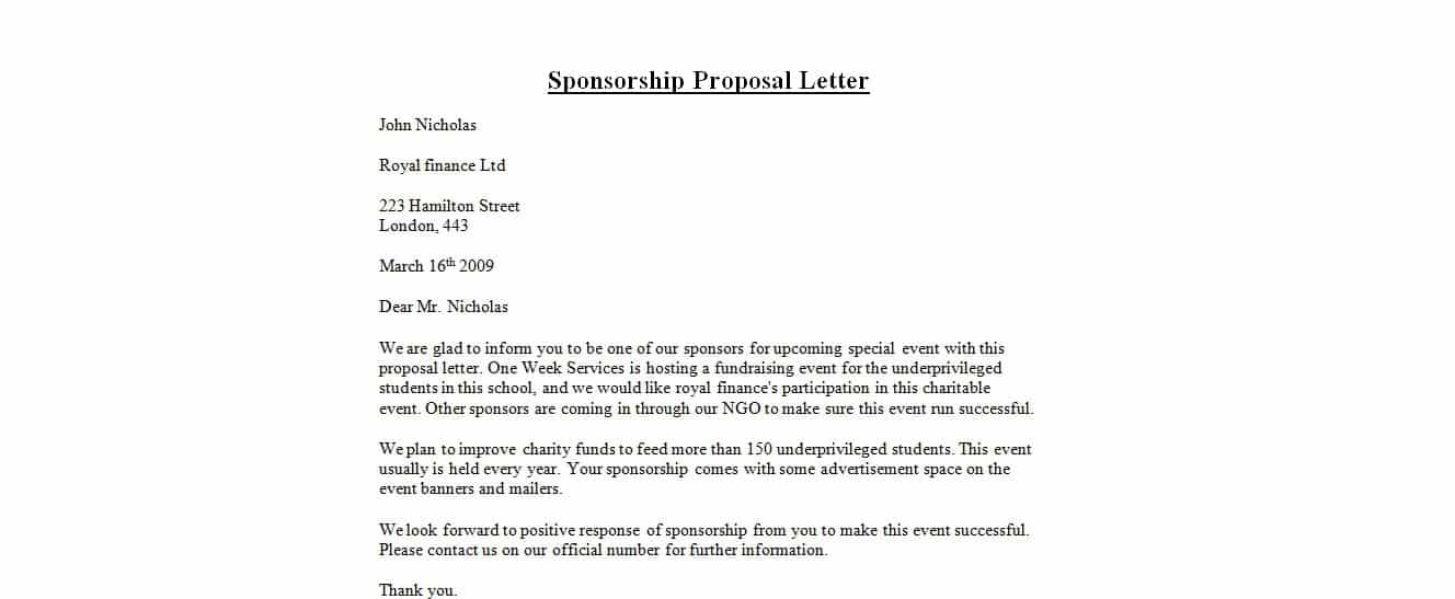 Doc638826 Letter of Sponsorship for Event Sample letter for – Template Letter for Sponsorship