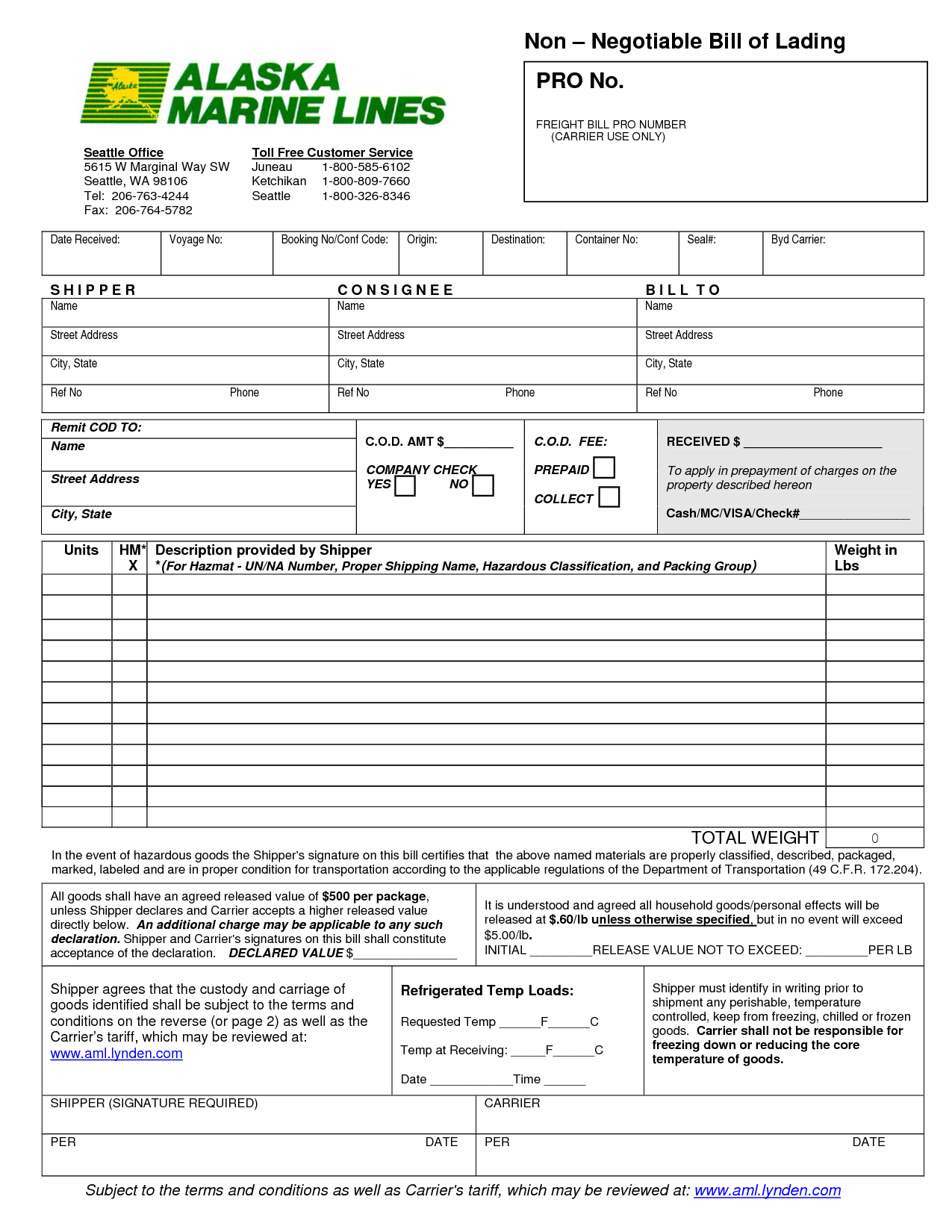Word MS Templates  Blank Bill Of Lading Form Template