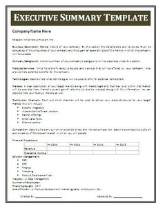 executive summary template word thebridgesummitco