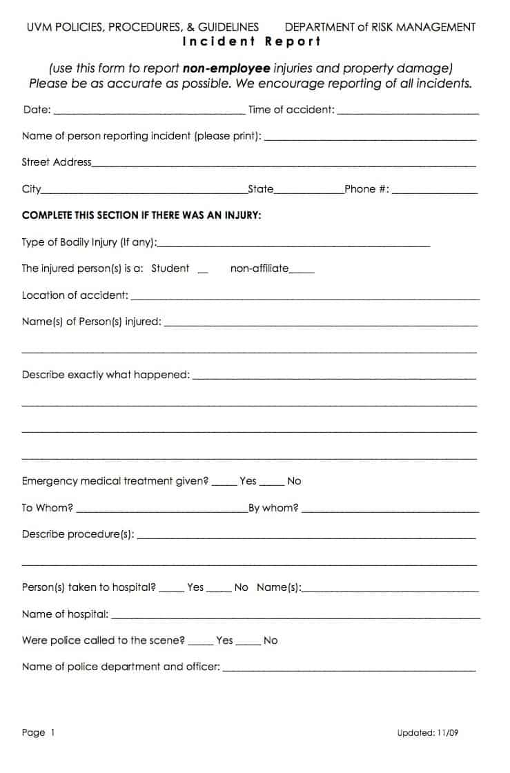 Word MS Templates  Injury Incident Report Form Template
