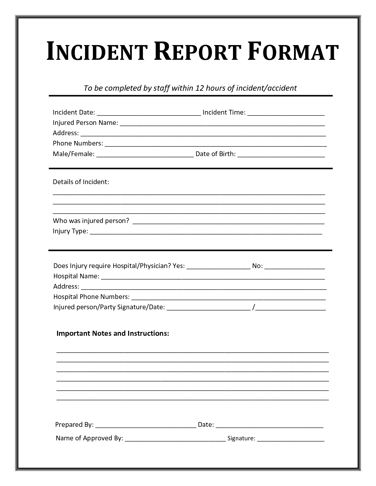 Incident Report Template  Writing Word Excel Format