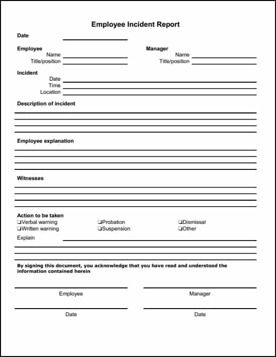Incident Report Template Microsoft Word