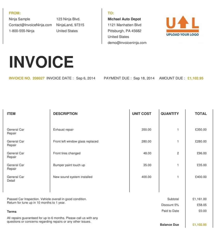 Word MS Templates  Invoice Smaple