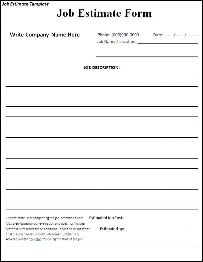 free estimate forms - Template