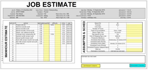 10 Job Estimate Templates Excel PDF Formats – Job Estimate Sheet
