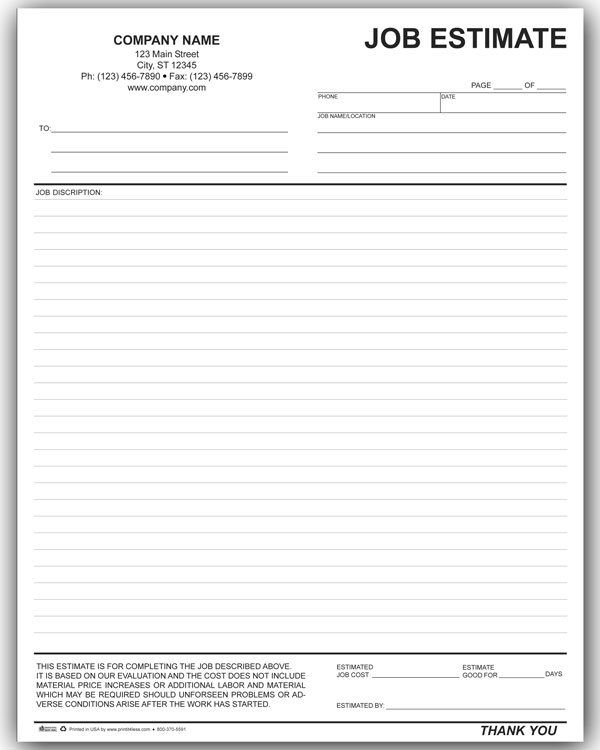 Estimate Form You Can Download A Pdf Version Of The Personalized