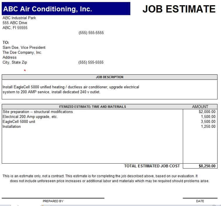 10 Job Estimate Templates - Excel PDF Formats