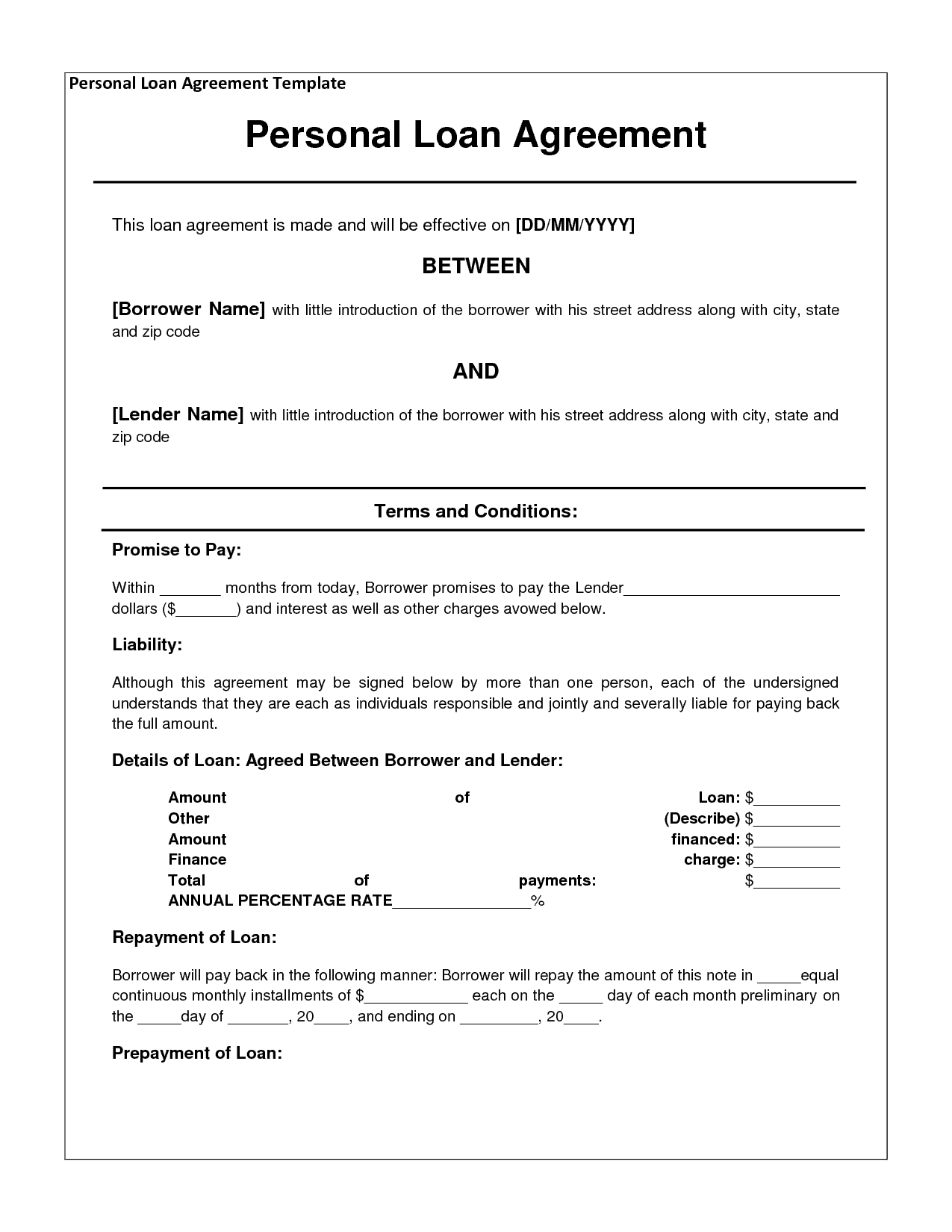 14 Loan Agreement Templates Excel PDF Formats