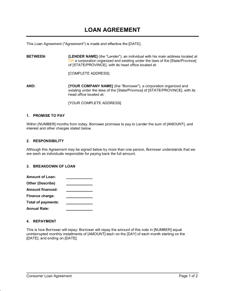 14 Loan Agreement Templates Excel PDF Formats – Loan Agreement Word Template
