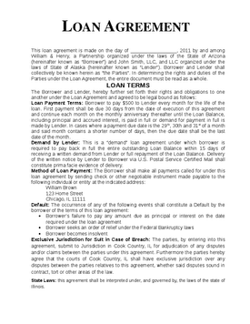 Lovely Word MS Templates Idea Bank Loan Agreement Format