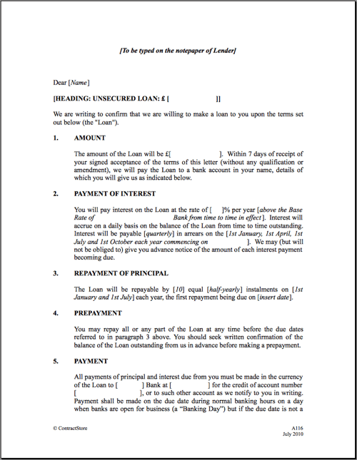 14 Loan Agreement Templates Excel PDF Formats – Interest Free Loan Agreement Template