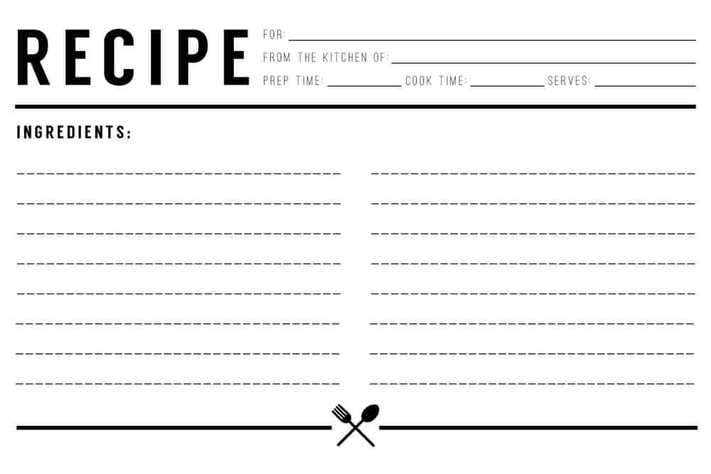 Recipe Card Templates  Excel Pdf Formats