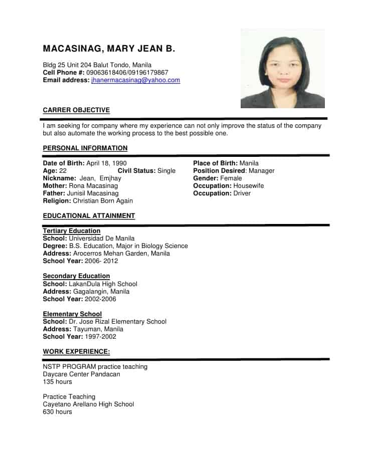 Free download samples of resume format